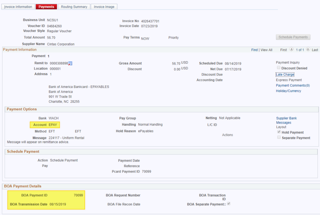 Screenshot of Financial System showing the BOA Payment ID and Transmission Date
