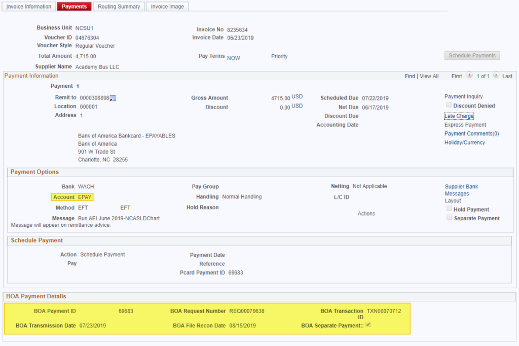 screenshot showing that account under Payment Options is set to EPAY