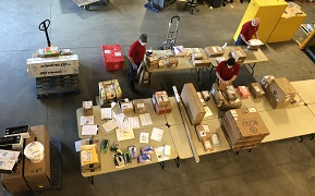 Picture of package sorting from bird's eye view